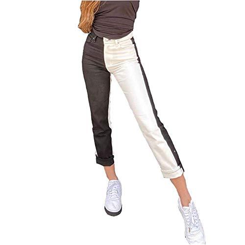 L&ieserram Damen Patchwork Jeans High Waist Stretch Cutoffs Distressed Straight Leg Denim Jeans Hose 70er Vintage E-Girl Style Y2K Schlagjeans Hose (C Schwarz weiß, S)