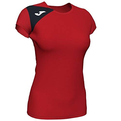 Joma Spike II Camisetas Señora, Mujer, Rojo-Negro, M