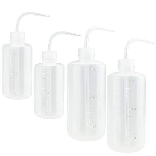 TANCUDER 4 PCS Botella de Lavado de Seguridad LDPE Transparente Botella de Tatuaje de Laboratorio Botella Squeeze Wash 250ml/500ml Botella Lavado de Compresión con Boca Estrecha para Planta Condimento