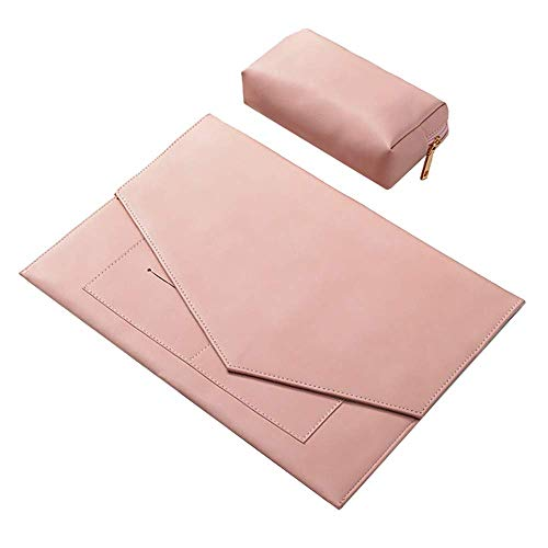 Zunbo Laptop Sleeve in Soft Leather, Bag for Portable PC 12-15 Inch, with Invisible Magnetic Closure, Water Repellent Bag with Small Case for Charger (14in, pink)