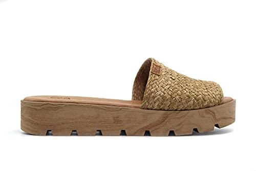 bluSANDAL - 4005- Plattform-Clog aus Holz, Zehen außen, aus Bast, geflochten, Gel-Pflanze, für: Damen, Brown - natur - Größe: 38 EU
