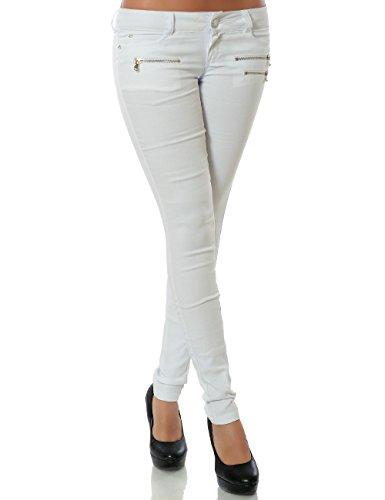 Damen Hose Treggings Skinny Röhre No 15528 Weiß 42 / XL