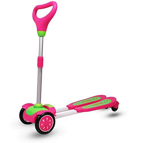 CYGJ Aleación de Aluminio Patinete Scooter Freestyle con 4 luz LED Intermitente Ruedas de PU,Rojo Plegable Tabla Scooter para Niños/Niñas/Niños