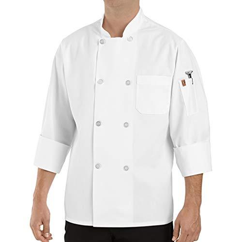 Chef Designs Men's Eight Pearl Button Chef Coat, White, Medium