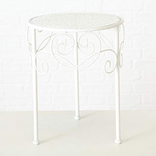 Meinposten. Beistelltisch weiß Metall Telefontisch Pflanzentisch Blumenständer Tisch niedrig (Klein 28 cm)