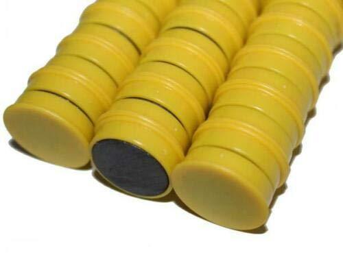 50 Magnete Gelb Ø 24 mm | Haftmagnete | Rund | Whiteboard - Kühlschrank - Magnettafel - Magnet - Magnetwand - Büro - Haushalt