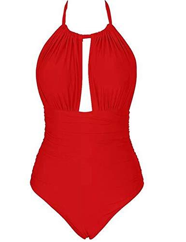 Eomenie Badeanzug Bamen Einteiler, bauchweg und rückenfrei Neckholder Bademode Damen Oversize Badekleidung große Größe L-4XL Monokini für mollige (2XL (EU42-44), Rot)