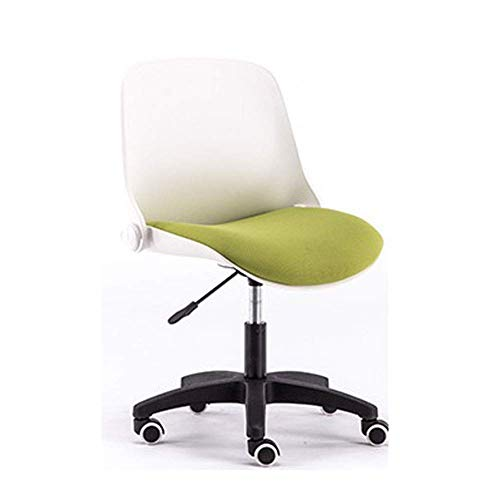 N/Z Daily Equipment Beauty Chair Barber Chair Comfy Fabric Computer Chair Adjustable Height Office Chair with Chrome Base Padded Swivel Chair Home/Office Furniture (Color : Black Frame Green)