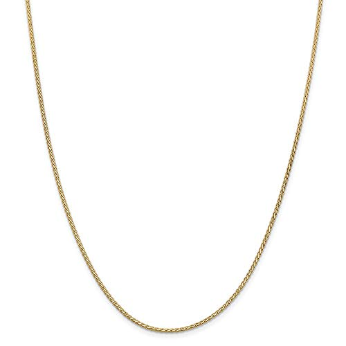 14k Yellow Gold 1.8mm Flat Link Wheat Chain Necklace 18 Inch Pendant Charm Spiga Fine Jewellery For Women Gifts For Her