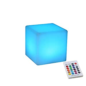 BLUEYE 4-Inch Cordless LED Cube Night Light, 16 Colors & Remote Control & Waterproof IP44, Kids Portable LED Lantern with Folded Handle