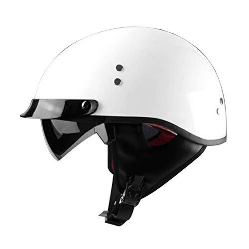 LAMZH Apertura Face Motorcycle Media Casco Estilo Ciclismo Motorbike Biker Cruiser Chopper Casco con Goggles Visor Unisex Allround Ciclismo Cascos (Color: C),Proteccion