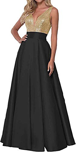 V Neck Prom Dress Long Sequins Satin Bridesmaid Dress Formal Evening Party Gowns for Women with Pockets Black (Apparel)