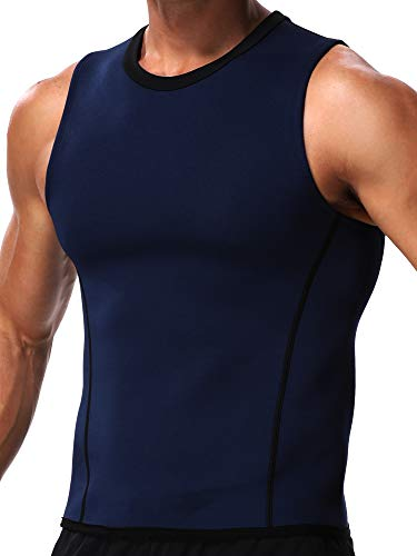 Herren Sauna-Weste Body Shaper Taille Trainer mit Reißverschluss Rückenstütze Hot Belly Bauch, Brust, Fettverbrennung, Tank Top Workout Gym Faja - Blau - Small