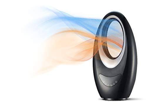 Team Kalorik TKG FH 2000 Chauffage d'appoint / Ventilateur sans rotor avec oscillation, LED Ambilight, Touch, télécommande, Noir, 1000/2000 W