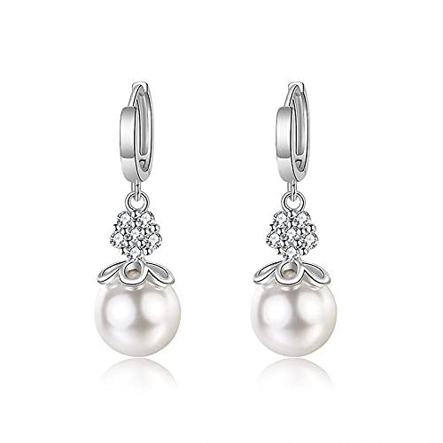 Pendientes colgantes de perlas de 12 mm Pendientes de plata de ley 925 para mujer Pendientes colgantes de perlas hipoalergénicas Joyería fina