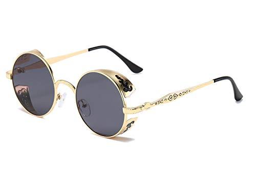BOZEVON Gafas de Sol Polarizadas - Gafas Clásicas de Estilo Retro de Steampunk Gafas Redondas de Metal para Mujeres y Hombres, Marco Dorado Lente Gris
