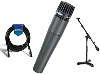 Shure SM57-LC Cardioid, Dynamic Handheld Wired Microphone. - Bundle With 20' Heavy Duty 7mm Rubber XLR Microphone Cable, Samson MB1 Mini Boom Stand