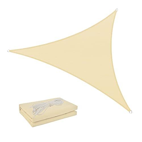Shade Spring Triángulo Crema 3.6x3.6x3.6m Parasol a Prueba de Agua Vela 95% Toldo de Bloque UV Toldo de protección Solar para jardín al Aire Libre Patio Patio