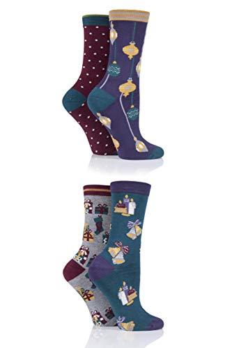 Thought Damen Heiligabend Bambus und Bio-Baumwolle Geschenkbox Socken Packung mit 4 Gemischt 37-40
