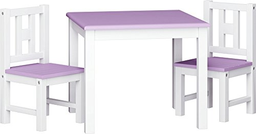 ib style® LUCA COLORS Kindersitzgruppe | Massivholz | Sicherheitsgeprüft | 1 Tisch + 2 Stühle | Weiß-Lila