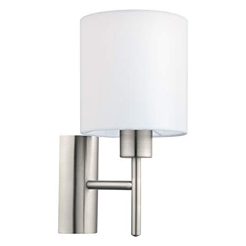 Eglo Pasterie - Lámpara de pared (1 foco, tela), color níquel mate y blanco