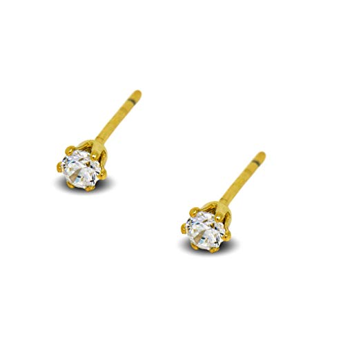 Blue Diamond Club . 9ct Gold Filled Womens Tiny Stud Earrings Girls Round 3mm White Crystals 6 Claws