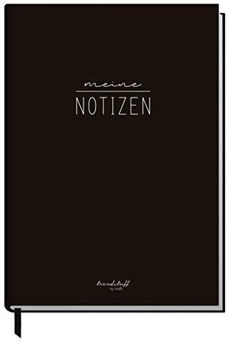 Notizbuch A5 kariert [schwarz] von Trendstuff by Häfft   124 Seiten, 62 Blatt   Ideal als Tagebuch, Bullet Journal, Ideenbuch, Schreibheft   klimaneutral & nachhaltig