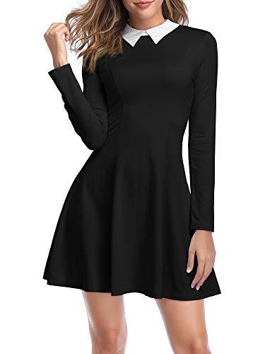 TORARY Women's Long Sleeve Black Dress with Collar Aline Flare Skater Dresses 19127-1 XXL