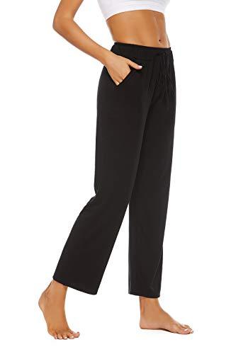 BATHRINS Womens Comfy Lounge Pants Loose Yoga Pants Drawstring Soft Pajama Pants with Pockets Black