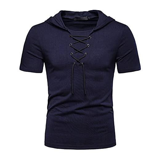 CFWL Camiseta De Manga Corta para Hombre Camiseta Casual con Capucha De Estilo BritáNico Mao Lino Blusa Manga...