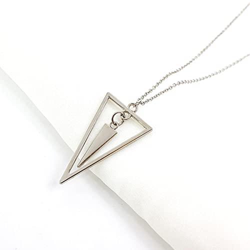DALIU Collar con Colgante de triángulo Colgante de Metal Simple, Cadena de suéter Largo, joyería Minimalista para Mujeres