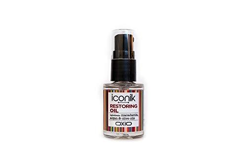 OXIO ICONIK Restoring Oil - Aceite con Macadamia, Argán y Oliva.Potente reparador, enriquecido con vitaminas y ácidos grasos omega 3 y 6,reestructura y da brillo al cabello de forma inmediata - 15ml