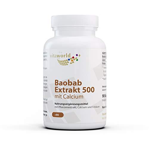 Vita World Baobab Extract 500 with Calcium and Folic Acid 90 Capsules Vegan/Vegetarian Made in Germany
