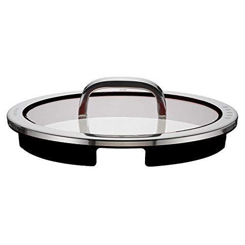 WMF Function Lot de 4 couvercles en verre avec 4 fonctions de versement, en silicone, acier inoxydable Cromargan poli Noir 24 cm