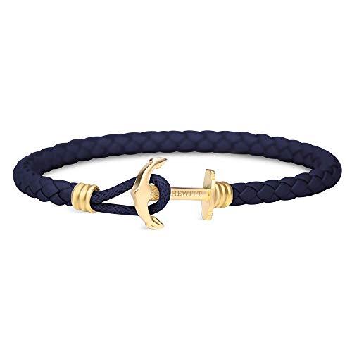 PAUL HEWITT Anker Armband Herren und Damen PHREP Lite - Männer und Frauen Leder Armband (Marineblau), Armband mit Anker Schmuck aus IP-Edelstahl (Gold)