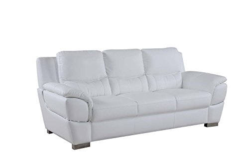Blackjack Furniture 4572 Binion Collection Faux Leather Match Upholstered Modern Living Room, Sofa, White