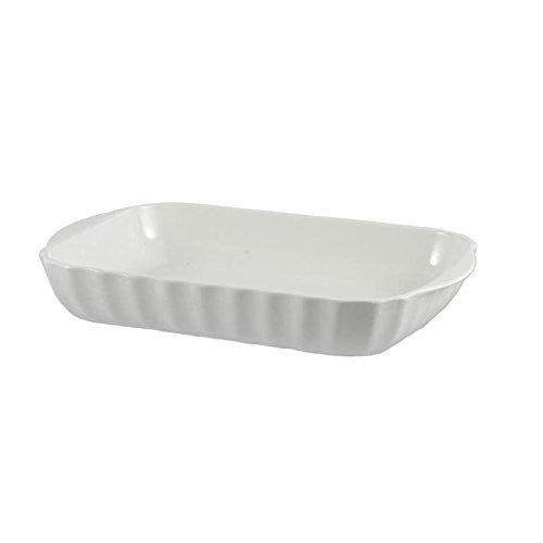 la Porcellana Pieve Plat de Cuisson rectangulaire cm 36 x 24 dans Une boîte Cadeau, Blanc