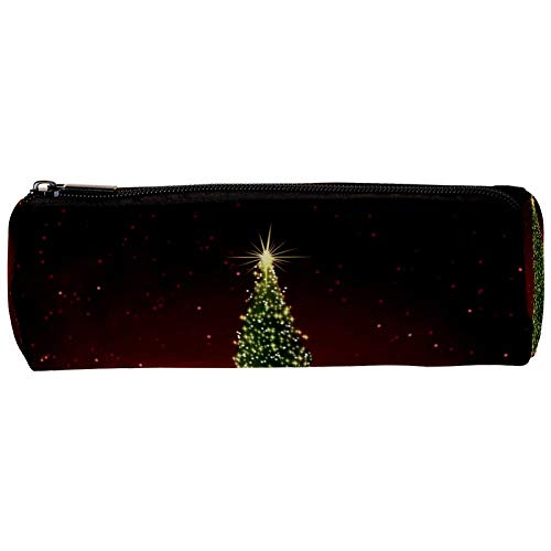 Abstract Green Christmas Tree on Red Pencil Bag Pen Case Stationary Case Pencil Pouch Desk Organizer Makeup Cosmetic Bag for School Office