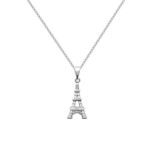 Set Anhänger Eiffelturm aus 925Silber rhodiniert und Zirkonen Zirkonia + Kette 45cm aus 925Silber
