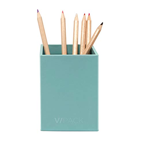 VPACK Square Pen Pencil Cup Holder Stand Desk Office Organizer, Double Art Paper Desktop Supplies Organizer for Home, School, Office(Blue)