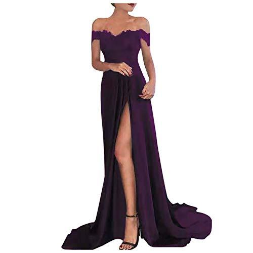 Shineshae Damen sexy Split Abendkleid,Einschulteriger Spitzenrock,Elegantes Kleid mit hoher Taille,Wischrock Party Kleid Ballkleid