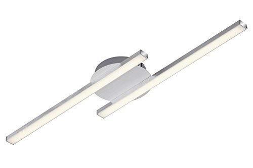 Briloner Leuchten – LED Deckenleuchte, Deckenlampe, 2-flammig, 2 x 6W, warm weißes Licht, 55.4 cm, aluminiumfarbig