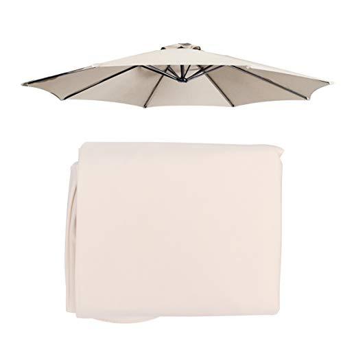 Cabilock Cubierta para sombrilla, protección UV, de poliéster, 8 hilos, para mesa exterior, dosel de repuesto, parasol para sombrilla (beige)