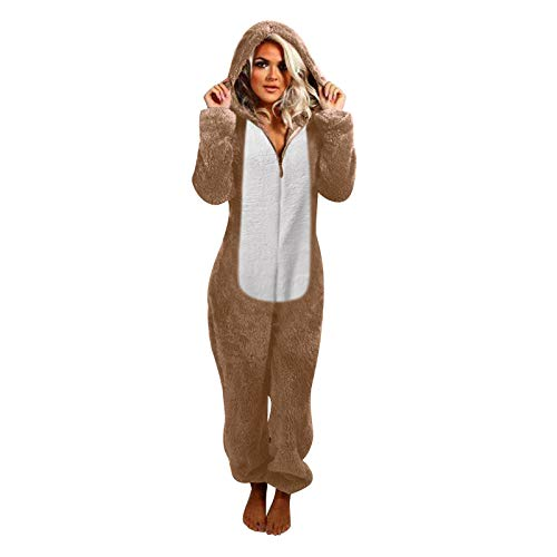KEERADS Mono de una pieza, mono de pijama, bloque de colores con orejas de gato, capucha y cremallera, de franela de manga larga, suave, patchwork caqui L