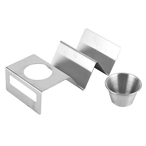 GAESHOW Stainless Steel Taco Holder Pancake Stand Rack with Sauce Cup Home Kitchen Restaurant Buffet Tools