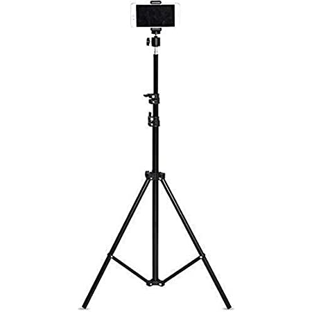 Rewy Portable & Foldable 7 Feet (84Inch) Big Flexible Tripod for Camera, DSLR & Smartphones with Attachment 360-Degree Rotate Head & Adjustable Mobile Clip Holder (Black)