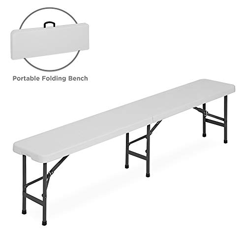 Best Choice Products 6ft Folding Portable Plastic Bench for Indoor, Outdoor, Picnics, Dining, Camping w/Handle & Lock