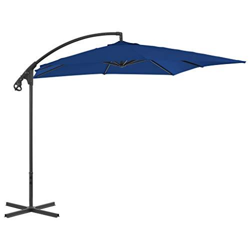 vidaXL Sombrilla Voladiza con Poste Parasol Exterior Patio Terraza Protección contra Rayos Ultravioleta Playa Piscina Toldo de Acero Azul Celeste