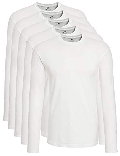 Lower East Camiseta de manga larga con cuello redondo de 100 % algodón, Hombres, Blanco (paquete de 5), S