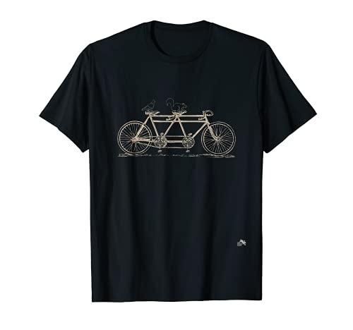 Bicicleta en tándem con ardilla y paloma Camiseta